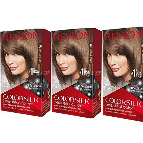 Revlon ColorSilk - Tinte para el cabello (43 g, 3 unidades), color marrón y dorado