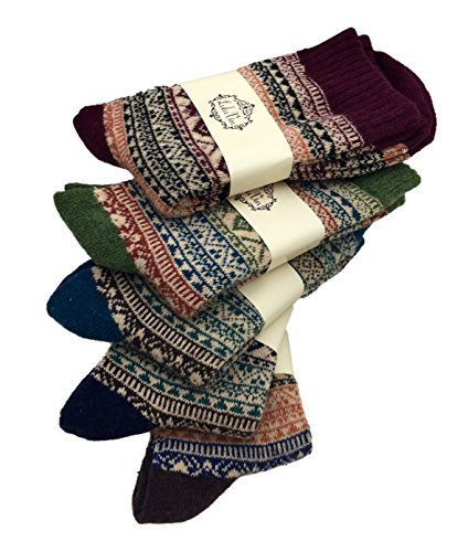 Men's Warm Colorful Winter Socks (5 Pairs) (Stripes)