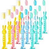 24 pezzi cartone spazzolino da denti per bambini di coniglio manuale con ventosa spazzolino da viaggio morbido e coperture antipolvere cappellini di spazzolino da denti per ragazze e ragazzi