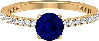 Anello di fidanzamento con zaffiro blu, diametro 6,00 mm, in moissanite D-VSSI, pietra laterale, anello di fidanzamento, o...