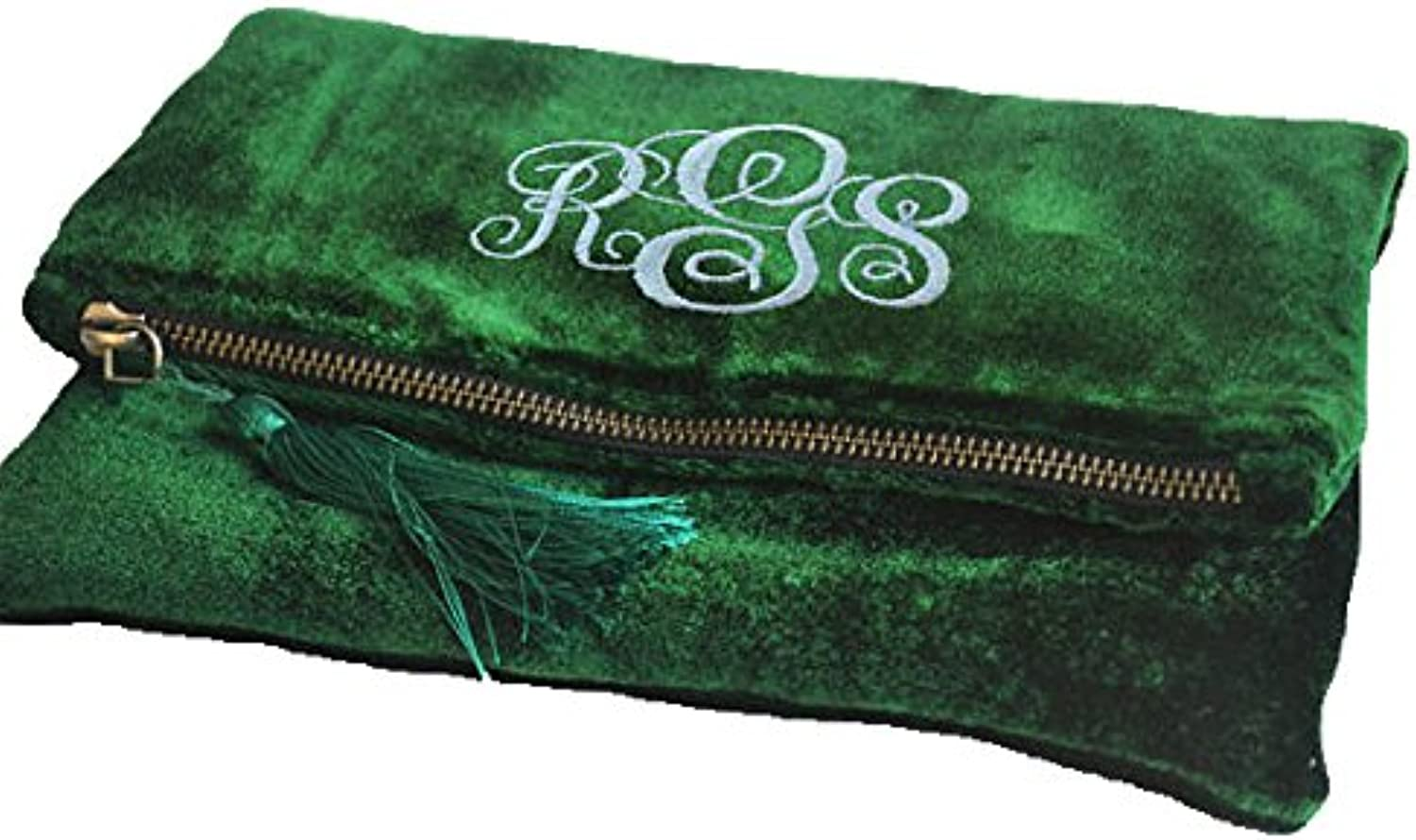 Cheers Handbags, Foldover Clutch, Emerald Green Fold Over Bag, Velvet Bag, Velvet Fold Over Pouch, Embroidered Bag