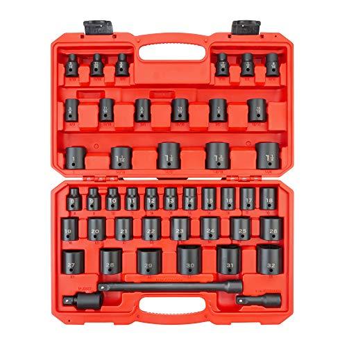 TEKTON 1/2 Inch Drive 6-Point Impact Socket Set, 45-Piece (5/16-1-1/4 in, 8-32mm) | SID92403