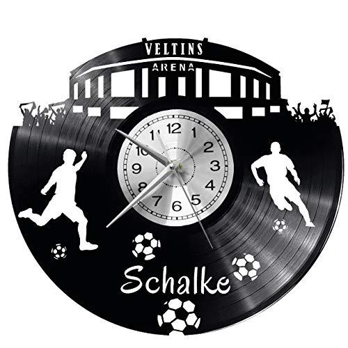 WoD Schalke Wanduhr Vinyl Schallplatte Retro-Uhr groß Uhren Style Raum Home Dekorationen Tolles Geschenk Uhr