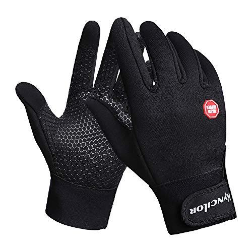 Allywit Cycling Gloves, Waterproof Windproof Touchscreen in Winter Outdoor Sport Mountain Bike Gloves Adjustable Size (Black, XL)
