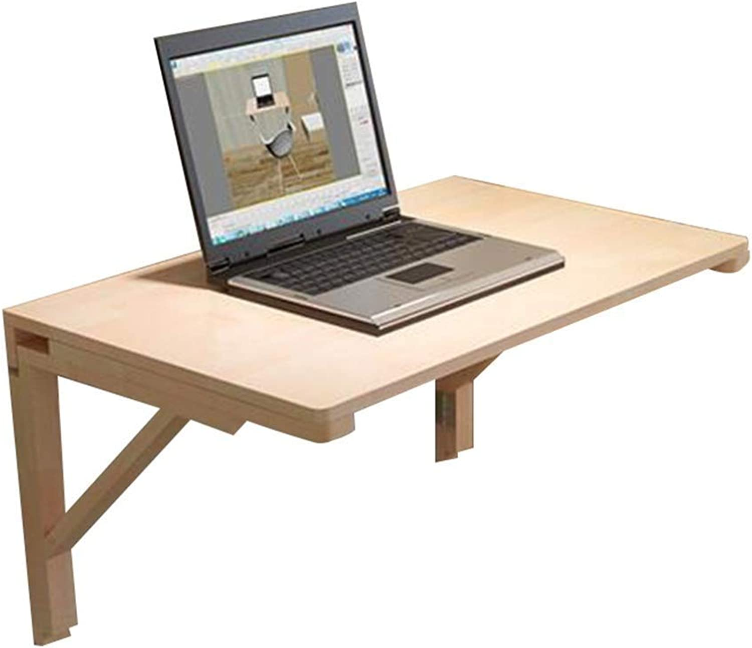 Folding Wall-mounted Table Multifunction Laptop Stand Kitchen Shelves Space Saving Solid Wood, 11 Sizes GAOFENG (color   Wood, Size   60x40cm)
