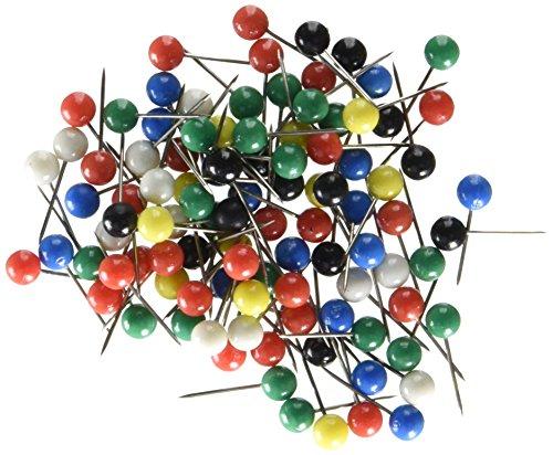 U Brands Map Push Pins, Plastic Head, Steel Point, Assorted Colors, 100-Count - 659U08-24