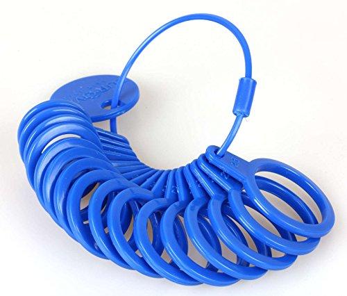 Moritzen-Schmuckherstellung Ringmaß aus Kunststoff, Messgerät für den Durchmesser von Ringen Blau