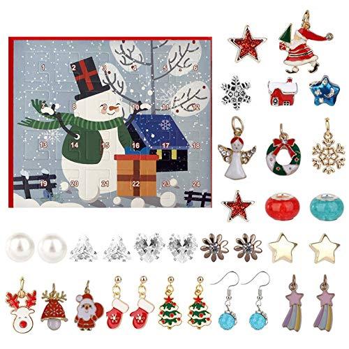 FeiliandaJJ Schmuck Adventskalender 2020 Weihnachtskalender Damen Kinder Mädchen Adventszeit mit 2 Halsketten+6 Ohrstecker+4 Ohrringe+12 Anhänger Weihnachten Geschenk (A)