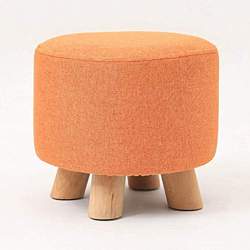XIAOWEI Square ottoman ottoman upholstered ottoman ottoman linen upholstered cushion seat living room bedroom garden stool chair with 4 wooden legs orange 29x29x25cm