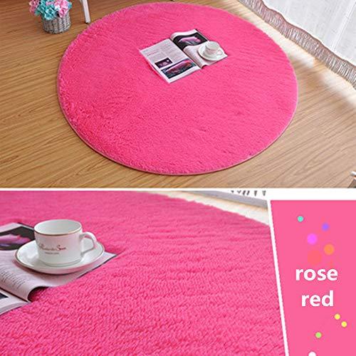 Morbuy Tapete Redondo Felpudos Alfombra 60CM/80CM/100CM Hogar Antideslizante Alfombras Piso Moqueta Mats Pad para Habitación Lavable Decorativo Suave Superficie (100cm, Rosa roja)