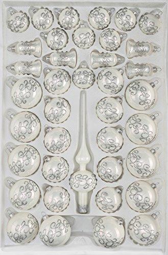 39 TLG. Glas-Weihnachtskugeln Set in Hochglanz-Weiss-Silberne-Ornamente - Christbaumkugeln - Weihnachtsschmuck-Christbaumschmuck