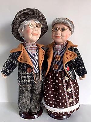"""Jmisa 16"""" Pair of Grandpa & Grandma Lovely Porcelain doll"""