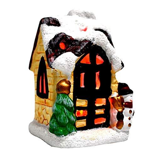 JiuRong Mini Casas de Pueblo de Escena de Navidad de Resina con Luces LED para decoración de Mesa de Navidad, Gran...