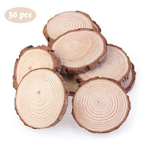 inherited Holzscheiben,30 Stücke DIY Handwerk Holz-Scheiben 6-7cm Naturholz Scheiben für DIY Handwerk Hochzeit Deko Weihnachten Dekoration Baumscheibe Hawaii Deko,Unbehandeltes Holz