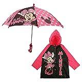 Disney Umbrella and Slicker Set, Toddler or Little Girl Rainwear Ages 2-7, Minnie Mouse Pink, Medium, Age 4-5