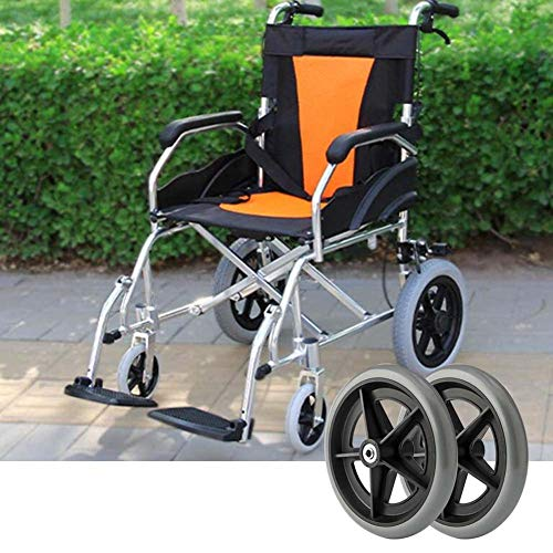 WYCD 2-teiliges Rollstuhl-Vorderrad-Ersatzteilwerkzeug Rollstuhlreifen 200 mm (8 Zoll) 5/16 Zoll-Lager, Nicht Markierender Vollreifen, Langlebig, Stark