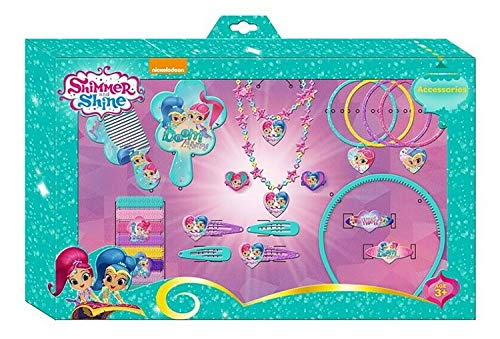 HOVUK Licenced Disney Character Shimmer and Shine Girls Jewellery Set and Hair Accessories 25 Pieces Christmas Kids Gift 3+year