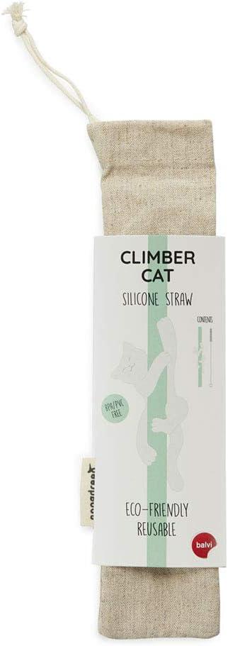 Balvi Set Cannuccia Riutilizzabile Climber Cat Colore Verde Accessorio Ecologica per Le Bevande Pennello e Coperto Inclusi Silicone//Inox//Cotone