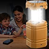 Hand Crank Solar Rechargeable Camping Lanterns, Portable Collapsible Emergency Lamp with Phone Charger, Main Light, Flashlight, Must Have Survival Kits for Hurricane Hiking Fishing Home Power Failure
