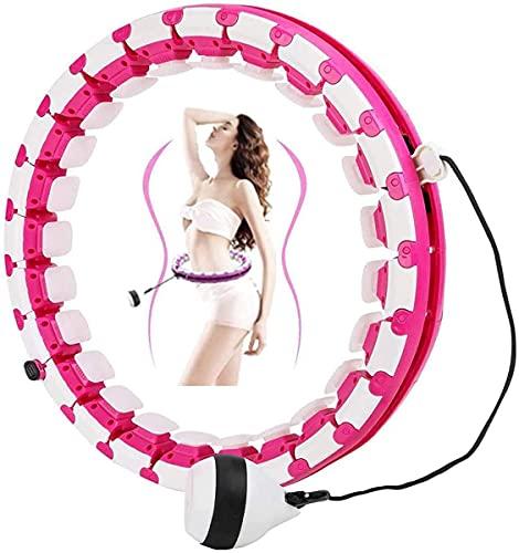 Wythe Smart Reifen Erwachsene, Einstellbar Breit Hula Ring Reifen Fitness mit Massagenoppen für Kinder Erwachsene Anfängermit Gymnastikreifen zum Abnehmen, Fitness, Massage,weiß rosa