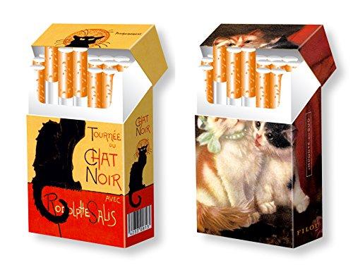 slipp overall - 2er Set - Katzenmotive - Chat Noir und süße KÄTZCHEN - Zigarettenschachtel Hülle Überzieher mit Deckel aus Karton für L-Schachteln - näheres zur Größe s. Produktbeschreibung