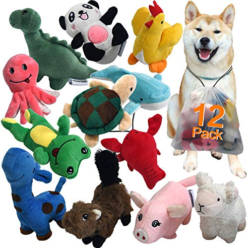 Squeaky Plush Dog Toy Pack for Puppy, Small...