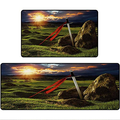 King Outdoor Mat Arthur Camelot Legend Myth in England Ireland Fields Invincible Myth Image Area Rugs for The Entrance Way Indoor Mats 20'x63'+20'x31' Green Blue and Red
