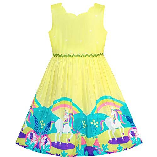 Sunny Fashion Vestido para niña Unicornio Arco Iris Dibujos Animados Amarillo Princesa 5 años