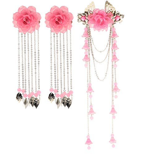 Baoblaze 3pcs Haarschmuck Haarnadeln Haarstab Haarkamm Hanfu China Japan traditionell Cosplay - Hell-Pink