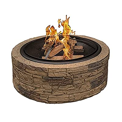 Fire Pit Wood-Burning fire Pit, Stove with mesh Spark Screen Cover, Suitable for Camping, Picnic Terrace, Backyard Bonfire by Lijack