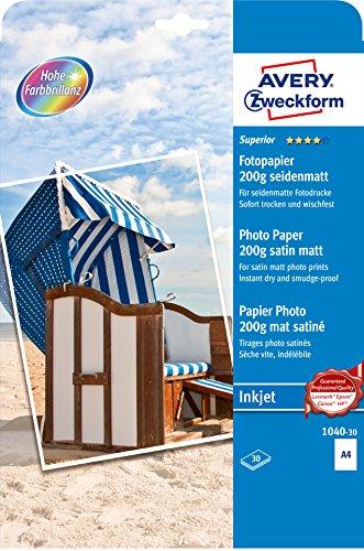 AVERY Zweckform 1040-30 Superior Inkjet Fotopapier (DIN A4, einseitig beschichtet, 200 g/m², 30 Blatt)
