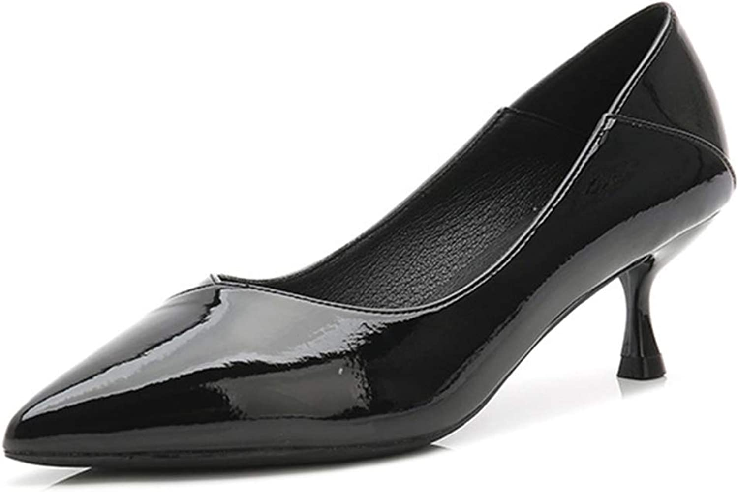 Soulength Women's Classics High Heels Point Toes Patent Leather Small Plus Size Ladies Pumps Non Slip Rubber Comfortable Fashion Work Office shoes(WH06,Black)