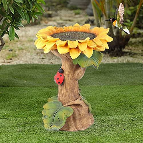 MOC Polyresin Sunflower Bird Bath Handmade Bird House Sunflower with Leaves and Ladybird Bird Bath Carved Resin Outdoor Landscape Decoration for Garden Yard