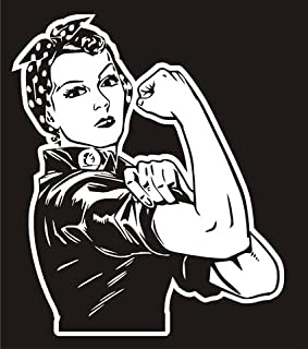 Rosie the Riveter v3 Decal Sticker - Peel and Stick Sticker Graphic - - Auto, Wall, Laptop, Cell, Truck Sticker for Windows, Cars, Trucks