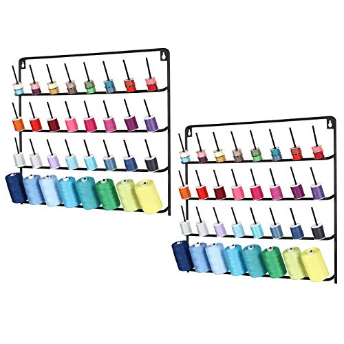 Thread Rack Wall Mounted, 2 Packs 32-Spool Metal Thread Holder with Hanging Tools for Organize Sewing Thread, Embroidery (Suitable for Large Thread)