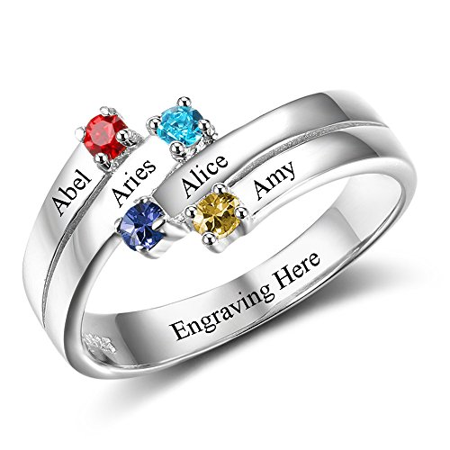 Love Jewelry Personalized Mothers Day Rings with 4 Simulated Birthstones 4 Names Family Daughters Promise Rings for Her (10)