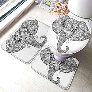 HOSNYE Elephant Bathroom Rugs and Mats Sets 3 Piece Ethnic Pattern Background Black Pencil Sketch Bath Mat U-Shaped Contour Shower Mat Toilet Lid Cover