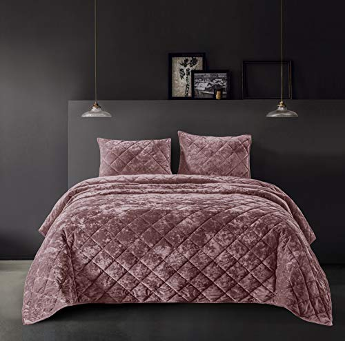 SHALALA NEW YORK Velvet Quilt Set Lightweight Comforter Set for All Seasons - Luxury Coverlet, Bed Spread with Soft Plush, Cotton Back, Geometric Pattern - Machine Washable (Mauve New, King)