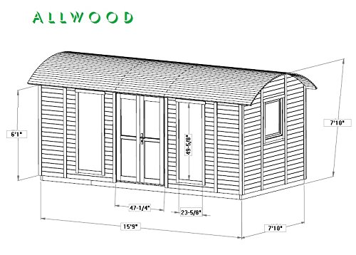 Allwood Mayflower Base   117 SQF Garden House, Cabin Kit 6 Unique style. Focal point of any garden. Total floor area 117 SQF Structures on wheels are except from permits in most states