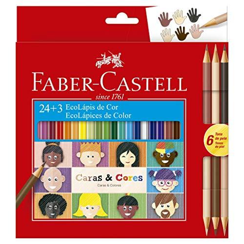 Lápis de Cor, Faber-Castell, Ecolápis Caras & Cores, 120124CC, 24 Cores + 3 Tons de Pele