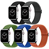 Vodtian Adjustable Nylon Braided Watch Band Compatible with Apple Watch Band 38mm 40mm, Stretchy Solo Loop Replacement Elastic Sport Straps for iWatch Series 6/5/4/3/2/1/SE