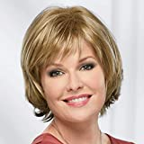 Meg Whisperlite Wig by Paula Young - Modern Layered, Side-Swept Bob Cut, Straight Style with Feathered Ends / 30+ Multi-tonal Shades of Blonde, Grey, Brown, and Red