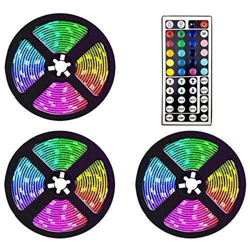 TOOGOO Tira de Luces Led de 15 M con Controlador de 44 Teclas Tiras de Luz Rgb Flexibles Que Cambian de Color para la Decoración de Bricolaje de Fiesta Enchufe de la Eu