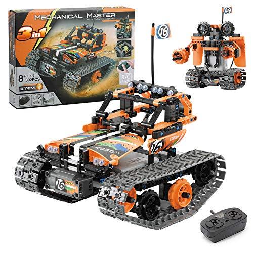 GPTOYS Robot Construcción teledirigido de Juguetes para Niños, 3 en 1 Juegos de Bloques para niños y niñas,Juguete Educativo Stem Regalos para 8 Años (392 Pieces)