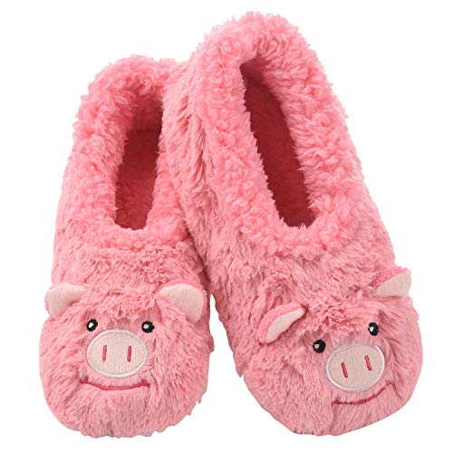 Snoozies Womens Slippers Animal Furry Foot Pals -Pig w Pink - Medium