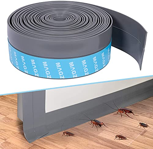 MAGZO Draught Excluder for Bottom of Door, 5cm x 6m Self-Adhesive Door Seal Weather Strip Durable Under Door Draft Stopper Sweep Rubber Seal Insulating Weatherstripping, Grey