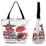 Xingruyun Handtasche Damen Pavillon Schultertasche Groß Umhängetasche Shopper Tasche Drucken Henkeltaschen Für Mädchen Frauen 28.5x18x32.5cm