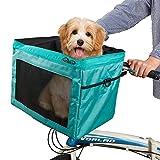 SNDMOR Canasta de Bicicleta para Mascotas-Canasta para Bicicleta para Perros-Cesta de Bicicleta para Mascotas extraíble-Plegable Carga máxima 4,5 kg(Cian)