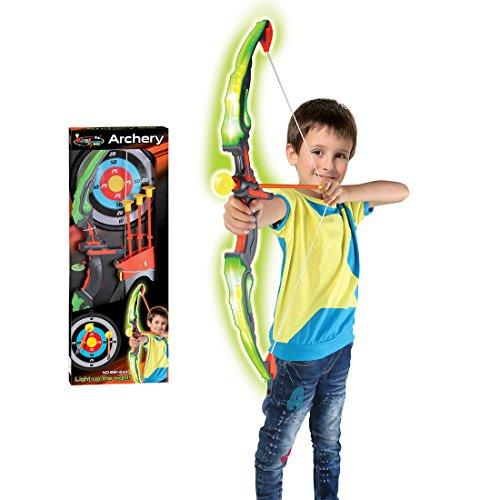 YAKOK Bogen Kinder, Bogenschießen Set LED Licht Kinder Pfeil und Bogen Set mit Zielscheibe, 3 Saugnapf Pfeilen, Köcher für Kinder 3-8 Jahre (Grün)