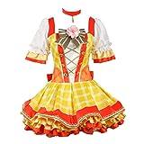 Love Live Costume Rin Hoshizora Bouquet Flowers Plaid Skirt Lolita Cosplay Women Dress Orange